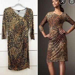 LAFAYETTE 148 Leopard Print 3/4 Sleeve Dress 10